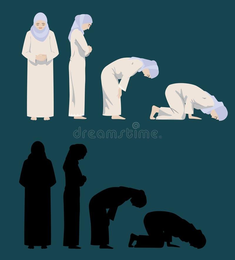 Betende Bewegungen einer moslemischen Frau stock abbildung