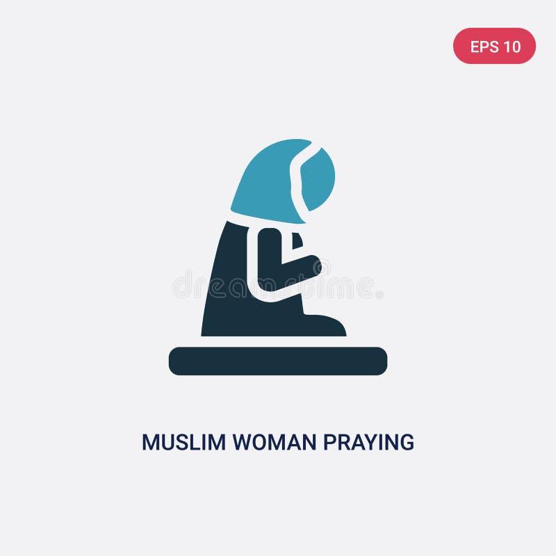 Betende Vektorikone der zwei Farbmoslemischen Frau vom Konzept religion-2 lokalisiertes Vektor-Zeichensymbol der blauen moslemisc lizenzfreie abbildung
