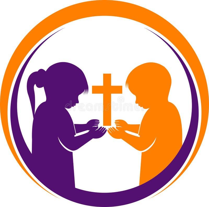 Betendes Kinderlogo stock abbildung