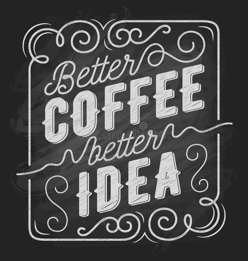 Beter koffie beter idee de typografie van het koffiecitaat vector illustratie