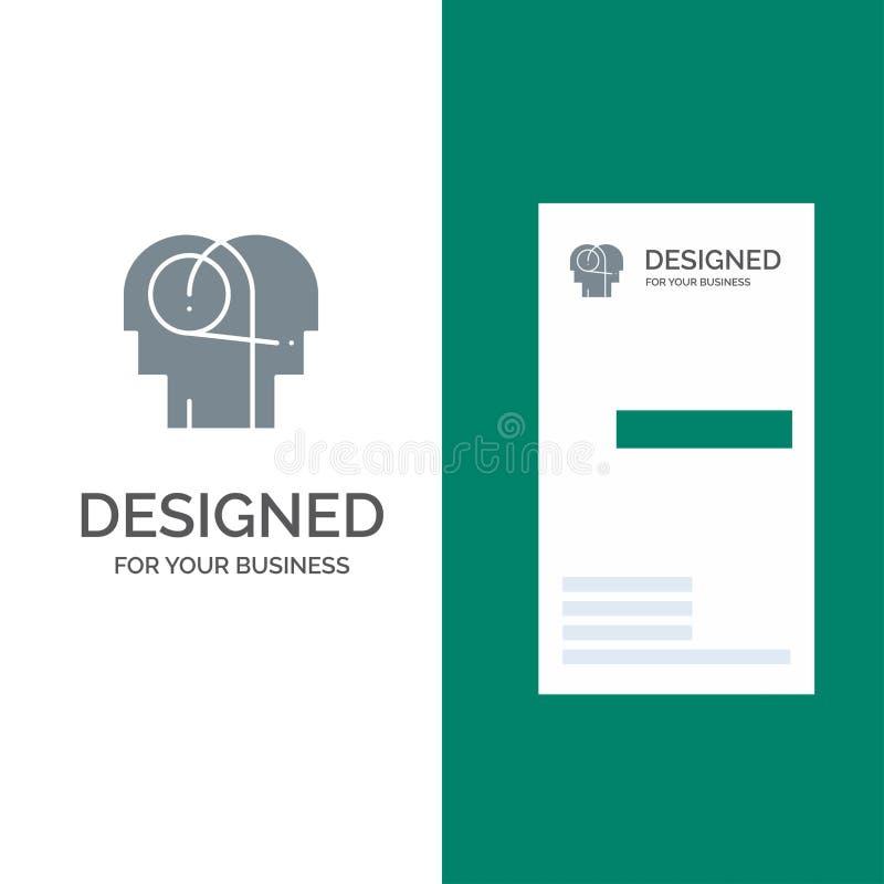 Beter, Mededeling, Hoorzitting, Menselijk Grey Logo Design en Visitekaartjemalplaatje royalty-vrije illustratie