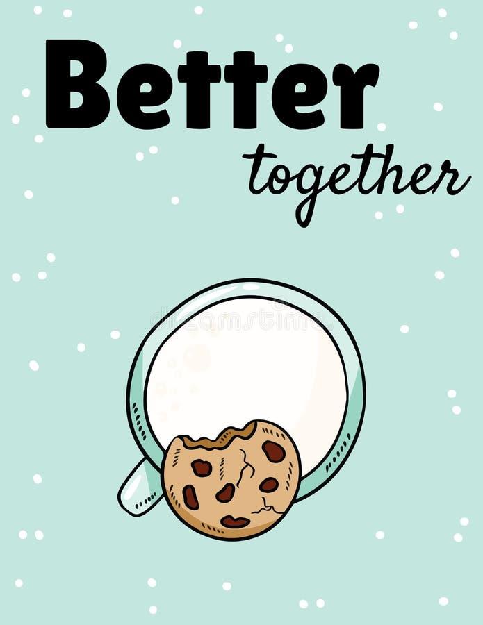 Beter samen fase met melk en koekje Ontbijt zoete en voedzame maaltijd De hand getrokken leuke prentbriefkaar van de beeldverhaal royalty-vrije illustratie
