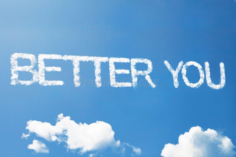 Beter u een wolkenwoord op hemel stock fotografie