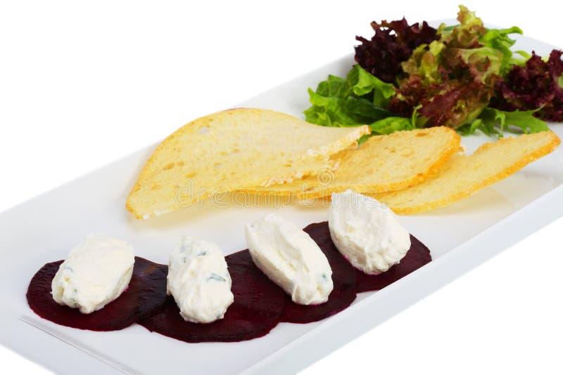 Beterrabas com queijo fotos de stock royalty free