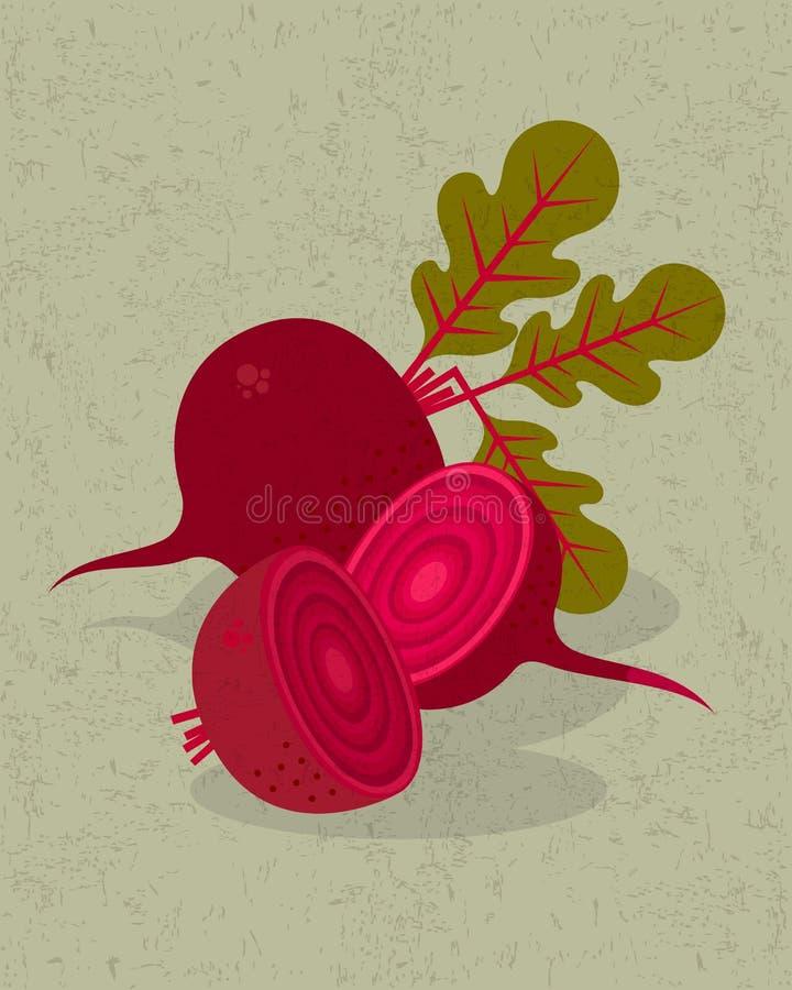 Beterrabas e metades da ilustração das beterrabas Beterrabas, folhas e flores vermelhas no fundo gasto imagem de stock royalty free