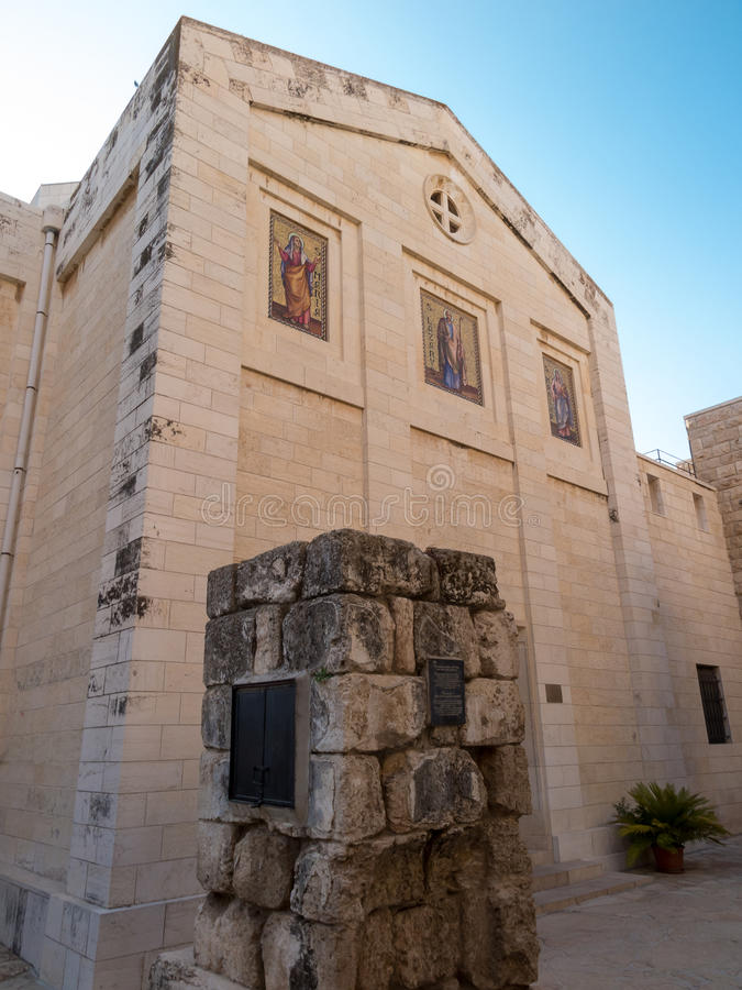 Bethany Church em comemorar a casa de amigos de Mari, de Martha e de Lazarus, de Jesus assim como do túmulo de Lazarus imagens de stock