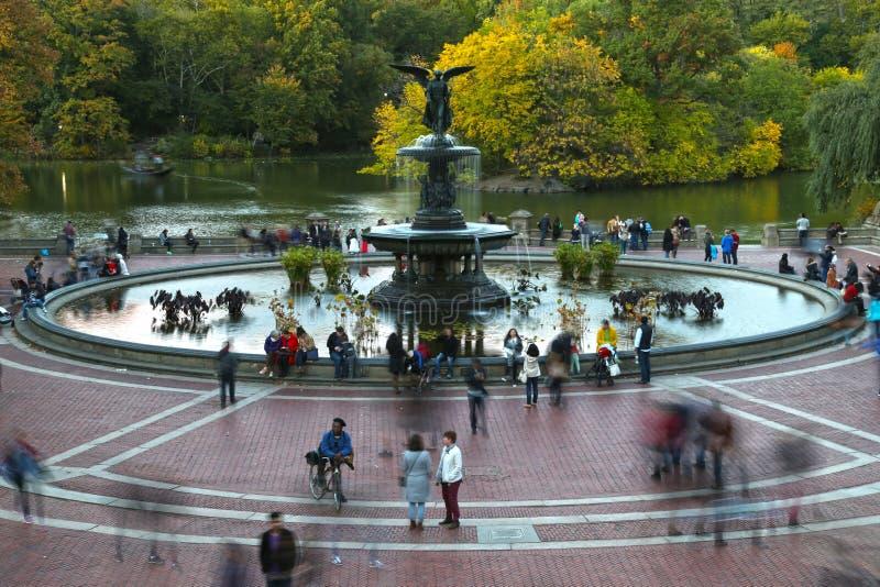 Bethesda fontanna w central park i taras fotografia royalty free