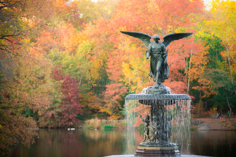 Bethesda Fountain. The Bethesda Fountain in fall foliage autumn colorful leaves in Central Park, New York City, USA stock photos