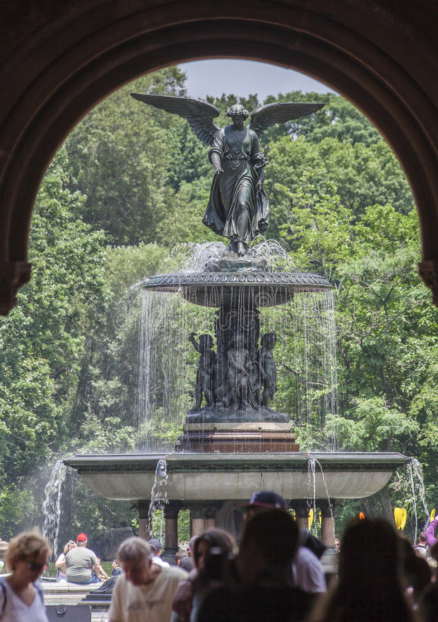 Bethesda Fountain New York City. The Bethesda Fountain with its angel statue framed by an arch in Central Park, Manhattan Island, New York City, United States stock images