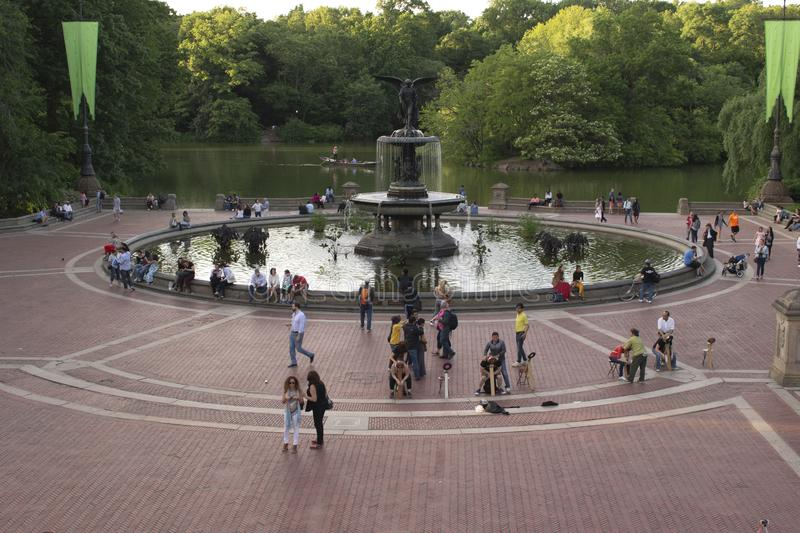 The Bethesda Fountain and Terrace in Central Park, New York City stock photo