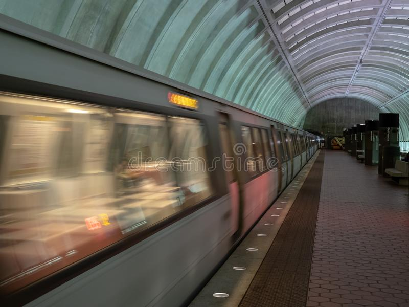 WMATA train arriving at Bethesda Red Line station in Washington, DC metro system. BETHESDA, MD – MAY 15, 2018: WMATA train arriving at Bethesda Red Line stock photo