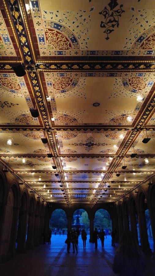 Bethesda Terrace en Fontein in de Stad van Central Parknew york stock foto's