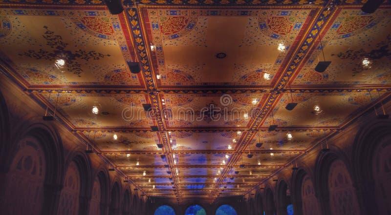 Bethesda Terrace en Fontein in de Stad van Central Parknew york royalty-vrije stock afbeelding
