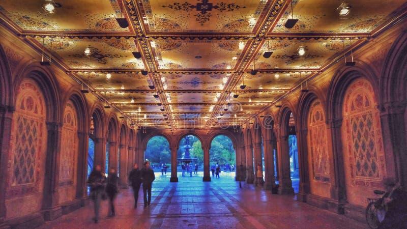 Bethesda Terrace en Fontein in de Stad van Central Parknew york stock fotografie