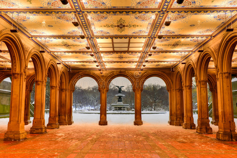 Bethesda Terrace At Night Central Park Stock Photo