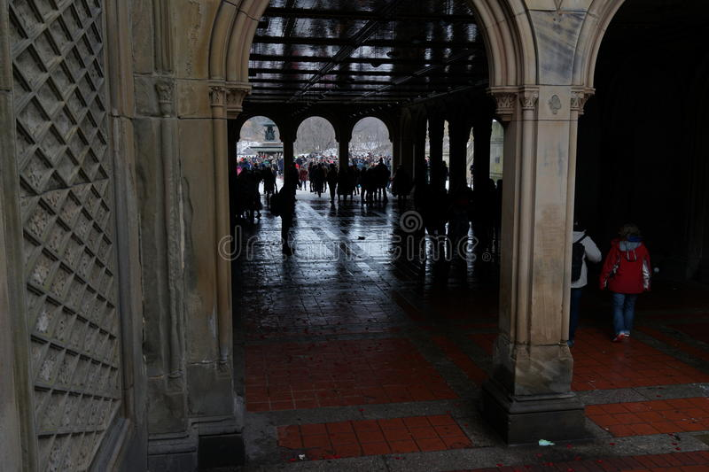 Bethesda Terrace 136. Bethesda Terrace is on two levels, united by two grand staircases and a lesser one that passes under Terrace Drive to provide passage royalty free stock image
