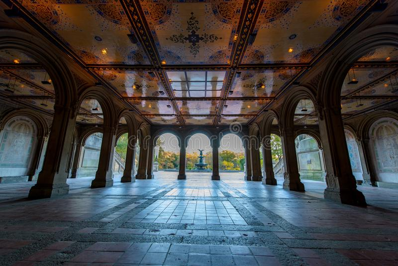 Bethesda Terrace und Brunnen in New York City Amerika lizenzfreies stockfoto