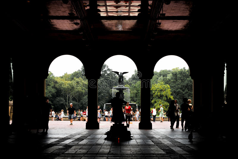 Bethesdaterras en fontein in Central Park, NYC royalty-vrije stock afbeelding