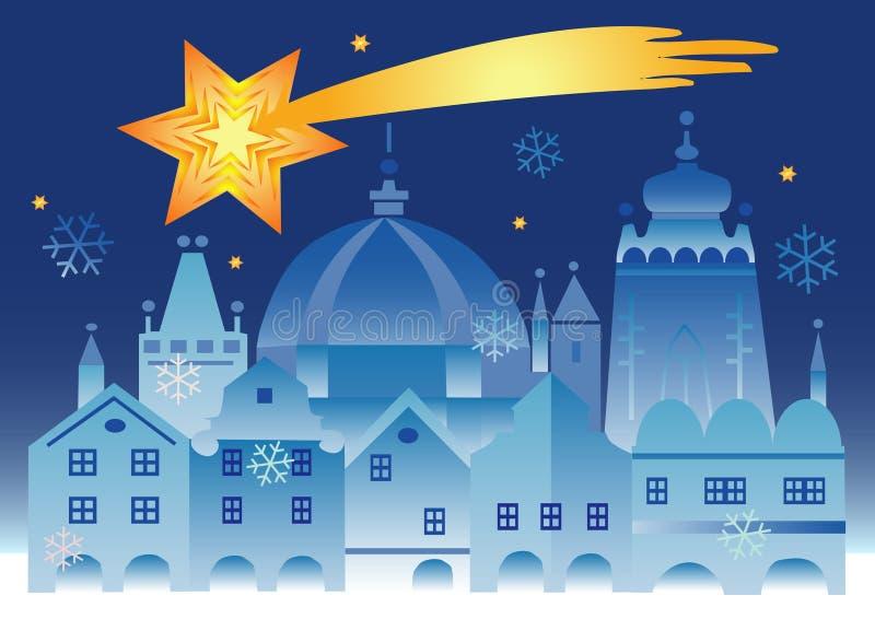 bethlehem bożych narodzeń gwiazdowy miasteczko ilustracja wektor