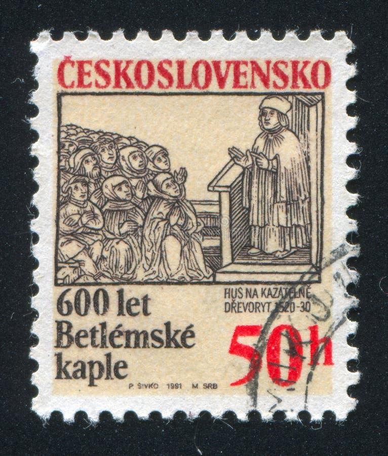 Bethlehem Chapel. CZECHOSLOVAKIA - CIRCA 1991: stamp printed by Czechoslovakia, shows Bethlehem Chapel, Prague, circa 1991 royalty free stock image