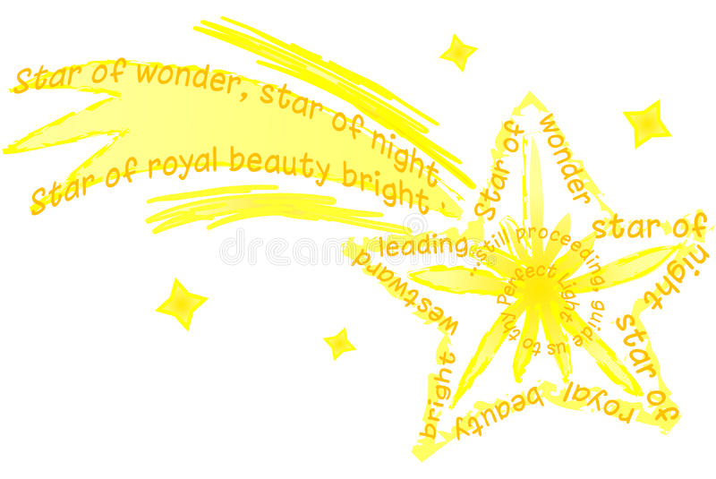 Bethlehem Christmas Star/eps. Illustration of a shooting star using the words of the old Christmas carol We Three Kings stock illustration