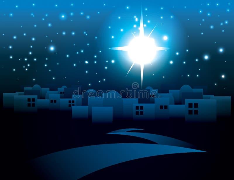 Bethlehem Christmas Star Illustration. An illustration of a dark Bethlehem illuminated by the Christmas star of Christ. Vector EPS 10 available. EPS contains stock illustration
