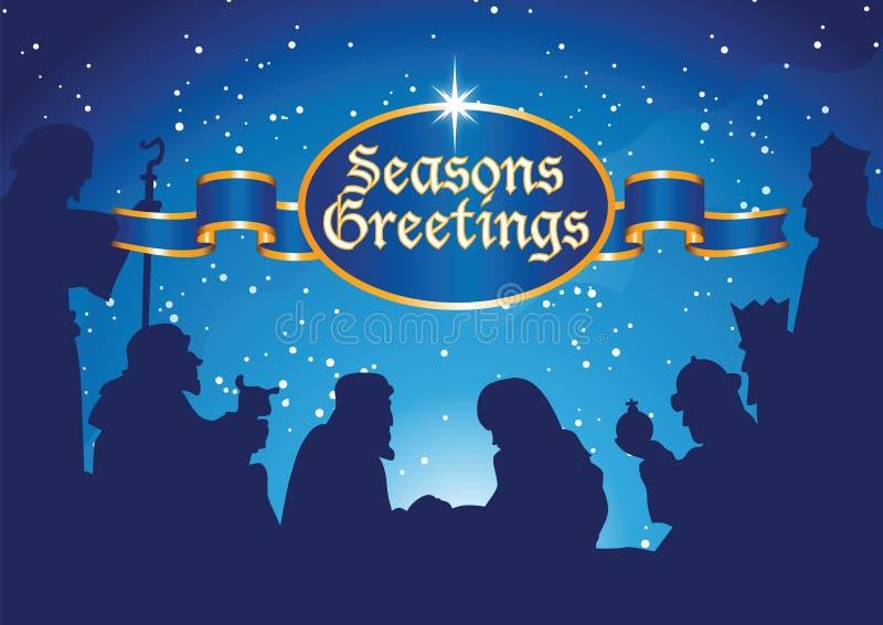 Bethlehem complete. Seasons greetings with bethlehem scene vector illustration