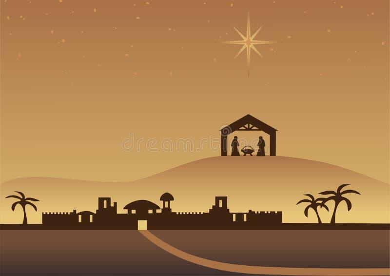 Bethlehem de achtergrond van Kerstmis vector illustratie