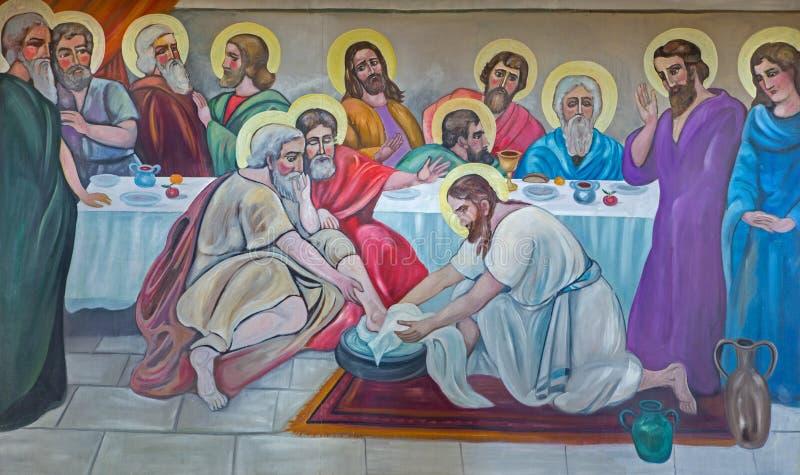 Bethlehem - de moderne fresko van Voeten die bij het laatste avondmaal van 20 wassen cent in Syrische orthodoxe kerk stock afbeeldingen