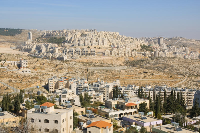 Bethlehem and Har Homa (Homat Shmuel). View of Har Homa (Hebrew illegal settlement) from Bethlehem 2010 stock image