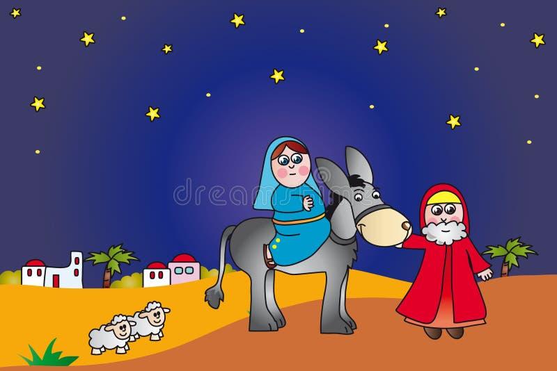 bethlehem joseph mary till stock illustrationer