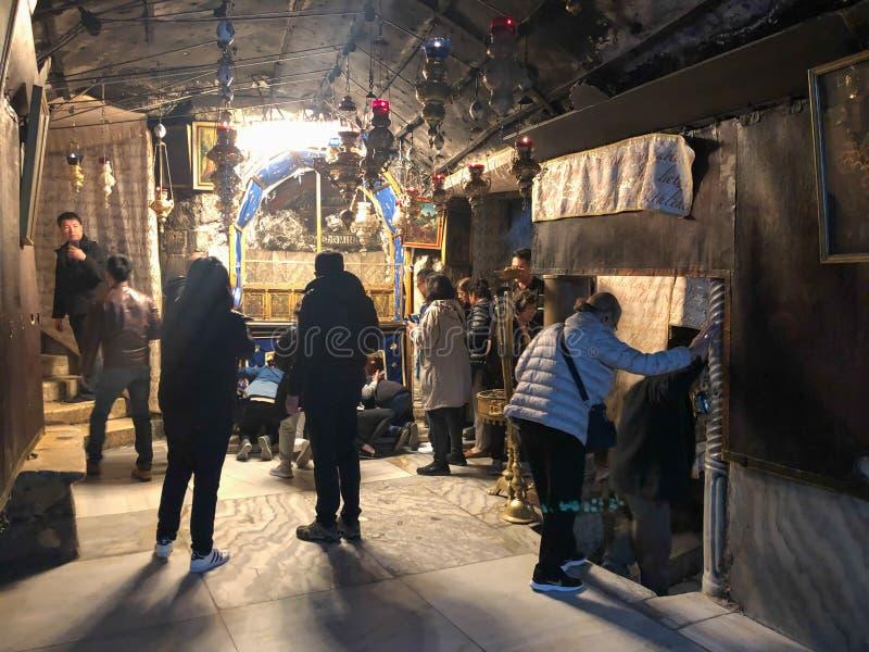 BETHLEHEM, PALESTINE - JANUARY 22, 2019: Grotto Over Cave Where Jesus Christ was Born. Church of the Nativity Bethlehem stock image