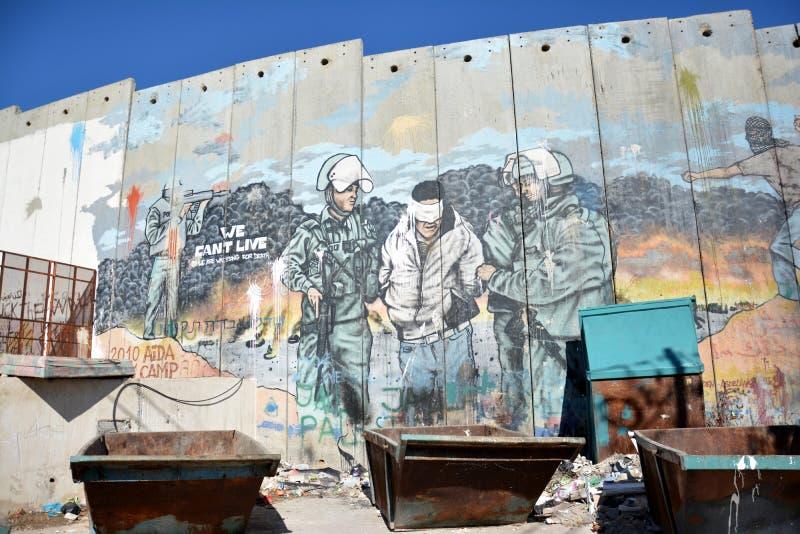 Bethlehem, Palestine 6 janvier 2017 - Aida Refugee Camp In Pa photo stock