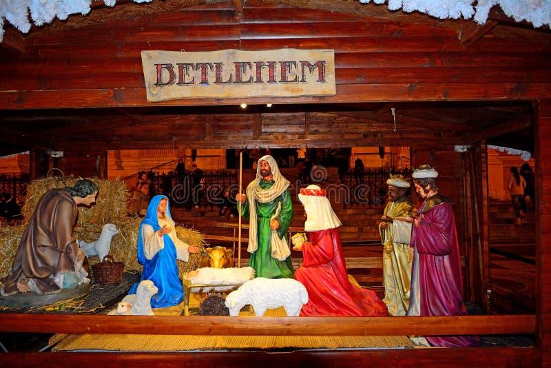 Bethlehem scène, Boedapest, Hongarije royalty-vrije stock foto's