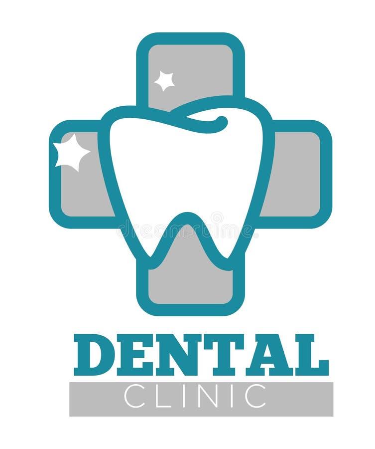 Betitlad logo för tand- klinik med den vita mousserande tanden vektor illustrationer