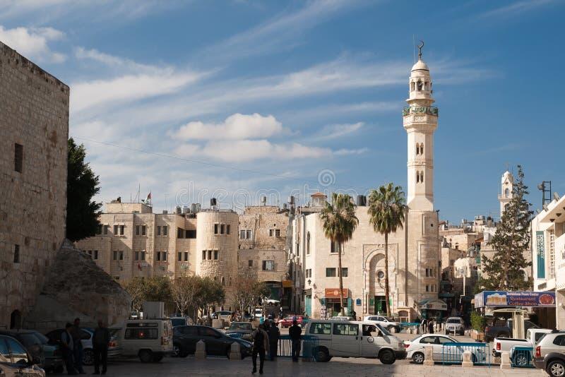 Betlehem Palestina - November, 2012: moskén av Omar arkivbilder