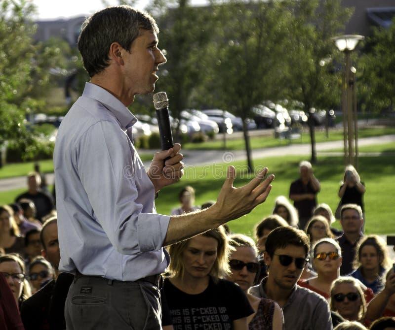 Beto O'Rourke in Aurora, Colorado stockbild