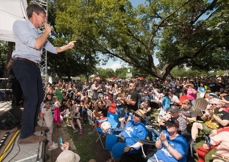 Beto O`Rourke Democrat Texas Campaigns for Senate. Beto O`Rourke, Democrat, Texas, on the campaign trail in Denton, Texas, September 15, 2018. The crowd was royalty free stock photo