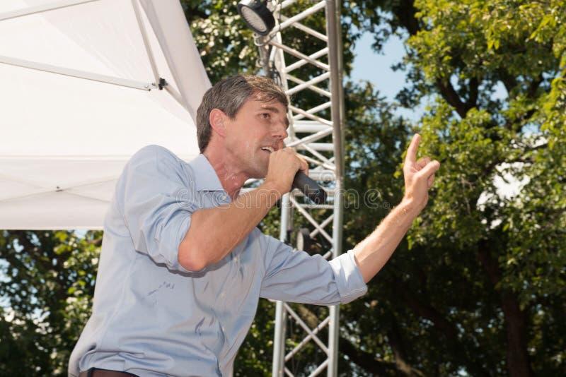 Beto O`Rourke Democrat Texas Campaigns for Senate. Beto O`Rourke, Democrat, Texas, on the campaign trail in Denton, Texas, September 15, 2018. The crowd was stock photos