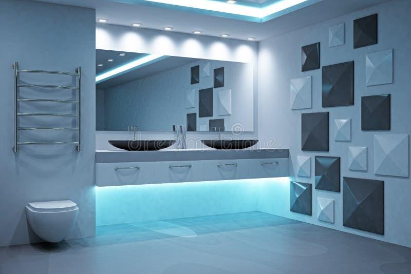 Beton belichteter Badezimmerinnenraum lizenzfreie abbildung