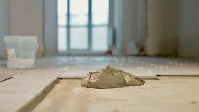 Beton na podłoga dla płytek instalacyjnych zdjęcie stock