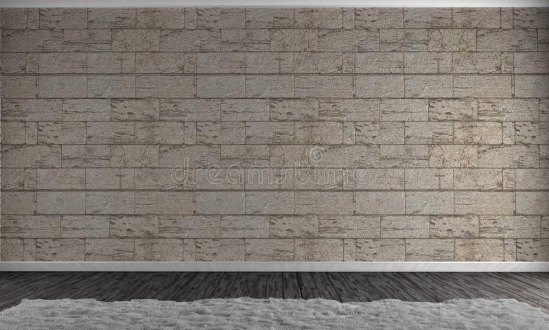 Betonblockwand in der Schmutzraumart und im weißen Teppich Wiedergabe 3d lizenzfreie abbildung