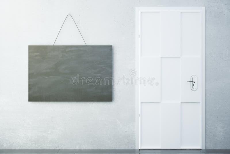Betongvägg med ett tecken i stilen av ett kritabräde och en wh arkivfoton