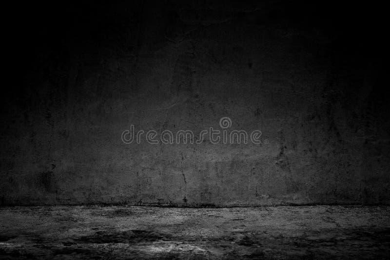 Betongvägg och golv för abstrakt bakgrundssvartrum mörk royaltyfria foton