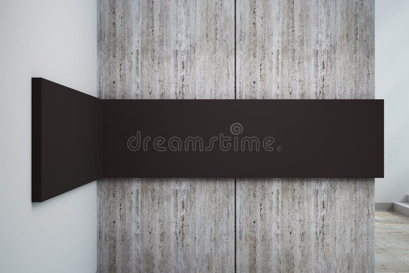 Betonmauer mit schwarzer Fahne lizenzfreie abbildung