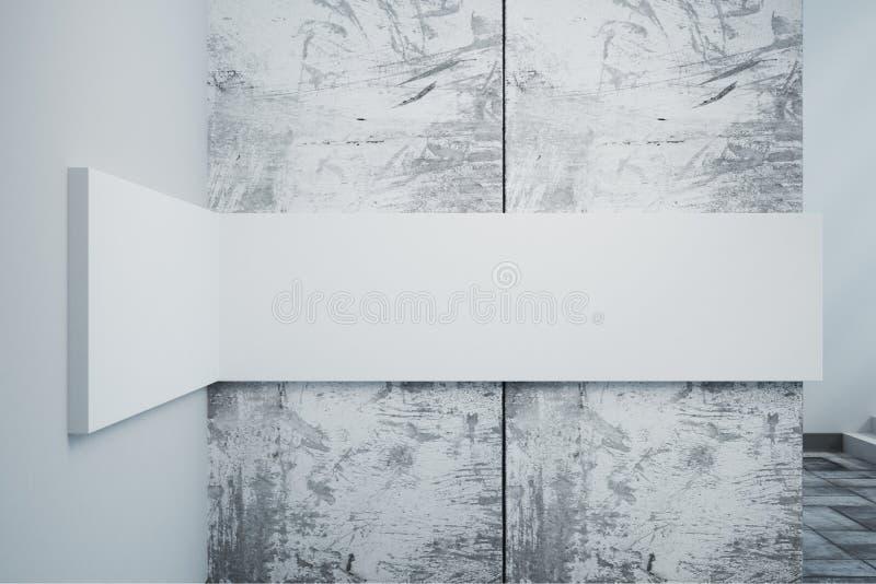 Betonmauer mit weißer Fahne vektor abbildung