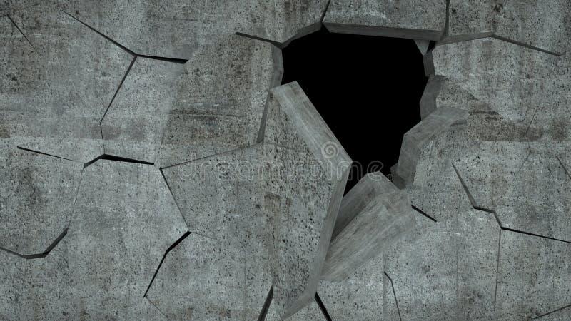Betonmauer mit Zerstörung, 3 d übertragen lizenzfreie stockfotos