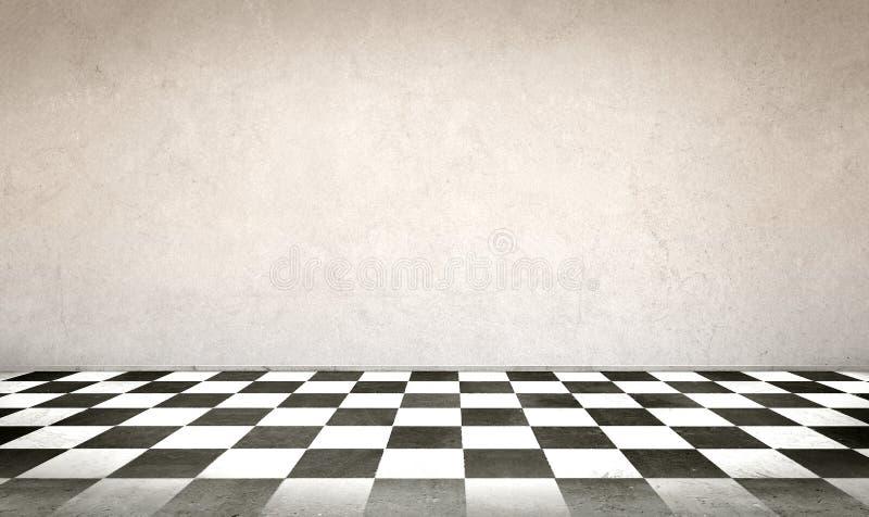 Betonmauer- und Schachbrettboden stockfotografie