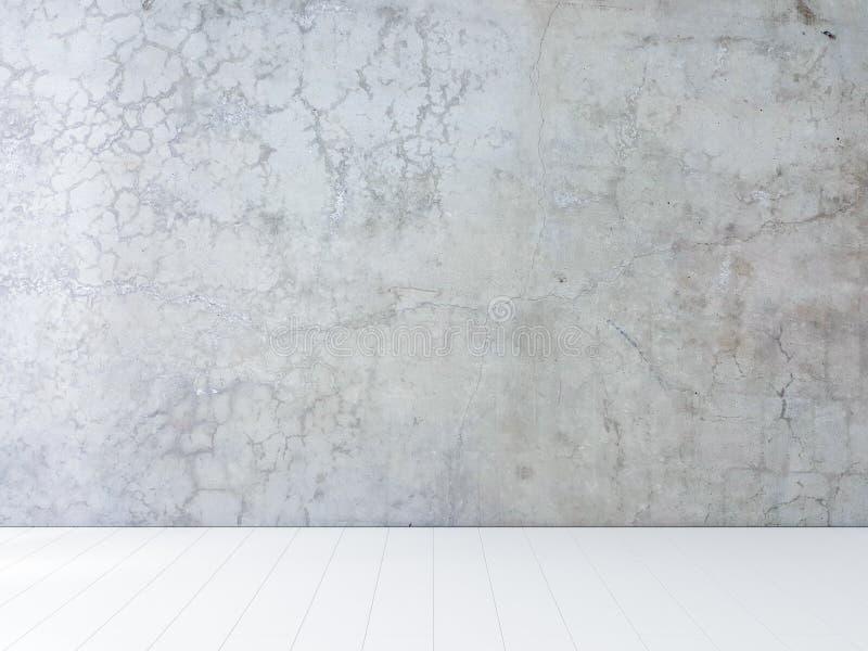 Betonowa ściana i biała drewniana podłoga, izbowy tło zdjęcia royalty free