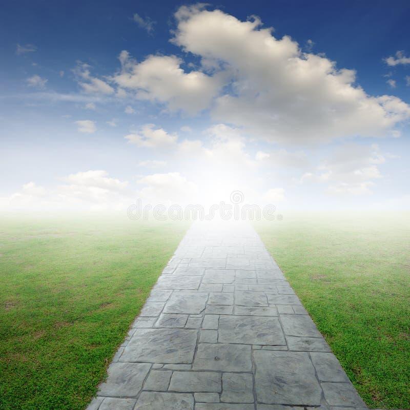 Betonowa droga w trawy niebieskim niebie i polach fotografia stock